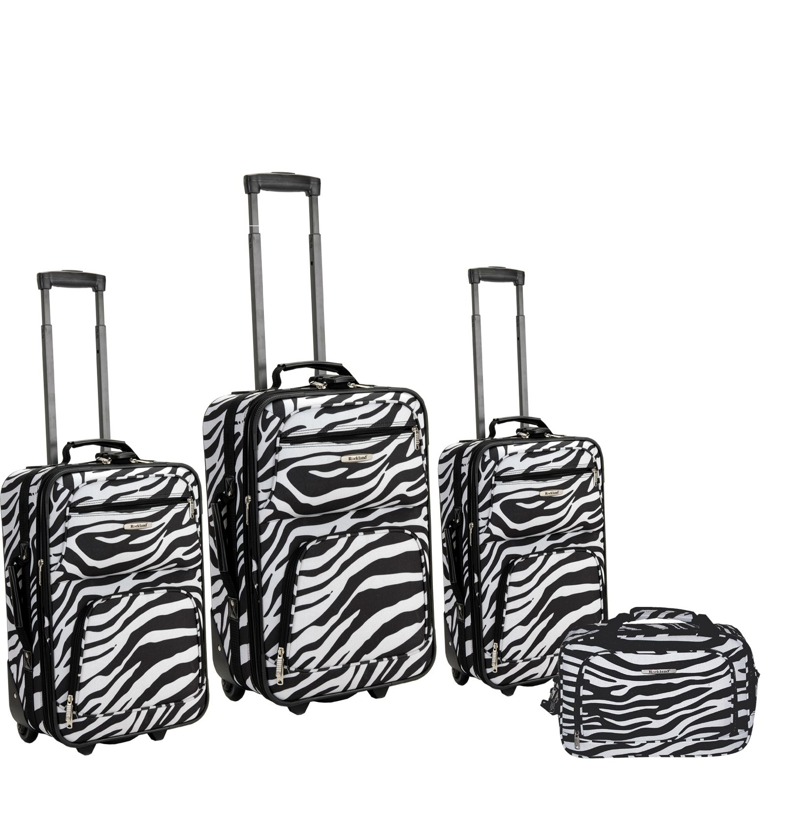 FOX LUGGAGE Rockland Fox Luggage Zebra Print 4 Pc Luggage Set