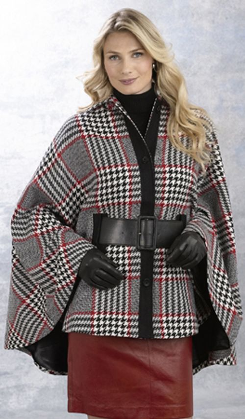 Excelled Wool Plaid Cape - RD/BK at Kmart.com