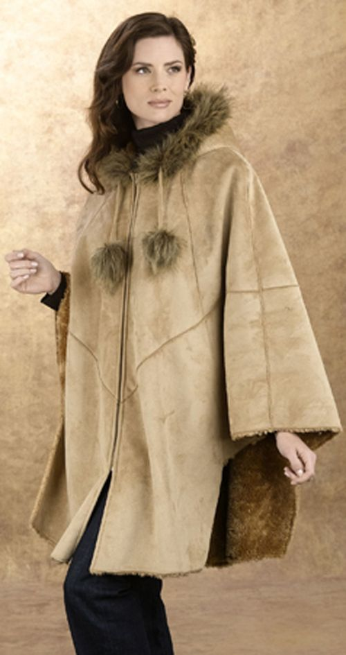 Excelled Faux Shearling Cape - TAN at Kmart.com