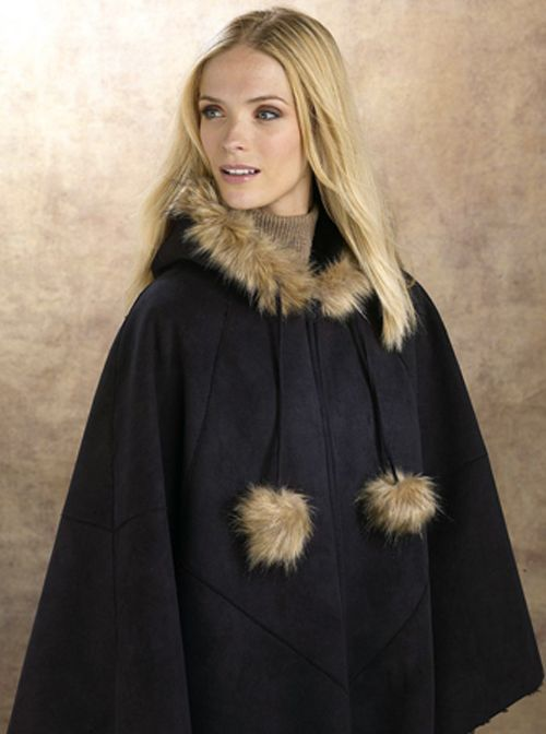 Excelled Faux Shearling Cape - BLACK at Kmart.com