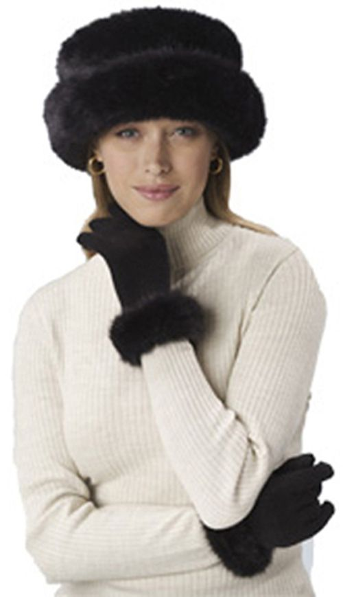 Excelled Faux Fur Bretton Hat - BLACK at Kmart.com