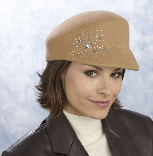 Excelled Wool felt cap with side rhinestone design - CAMEL at Kmart.com