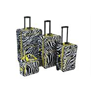 Rockland Fox Luggage Lime Zebra Print 4 Pc Luggage Set at Kmart.com