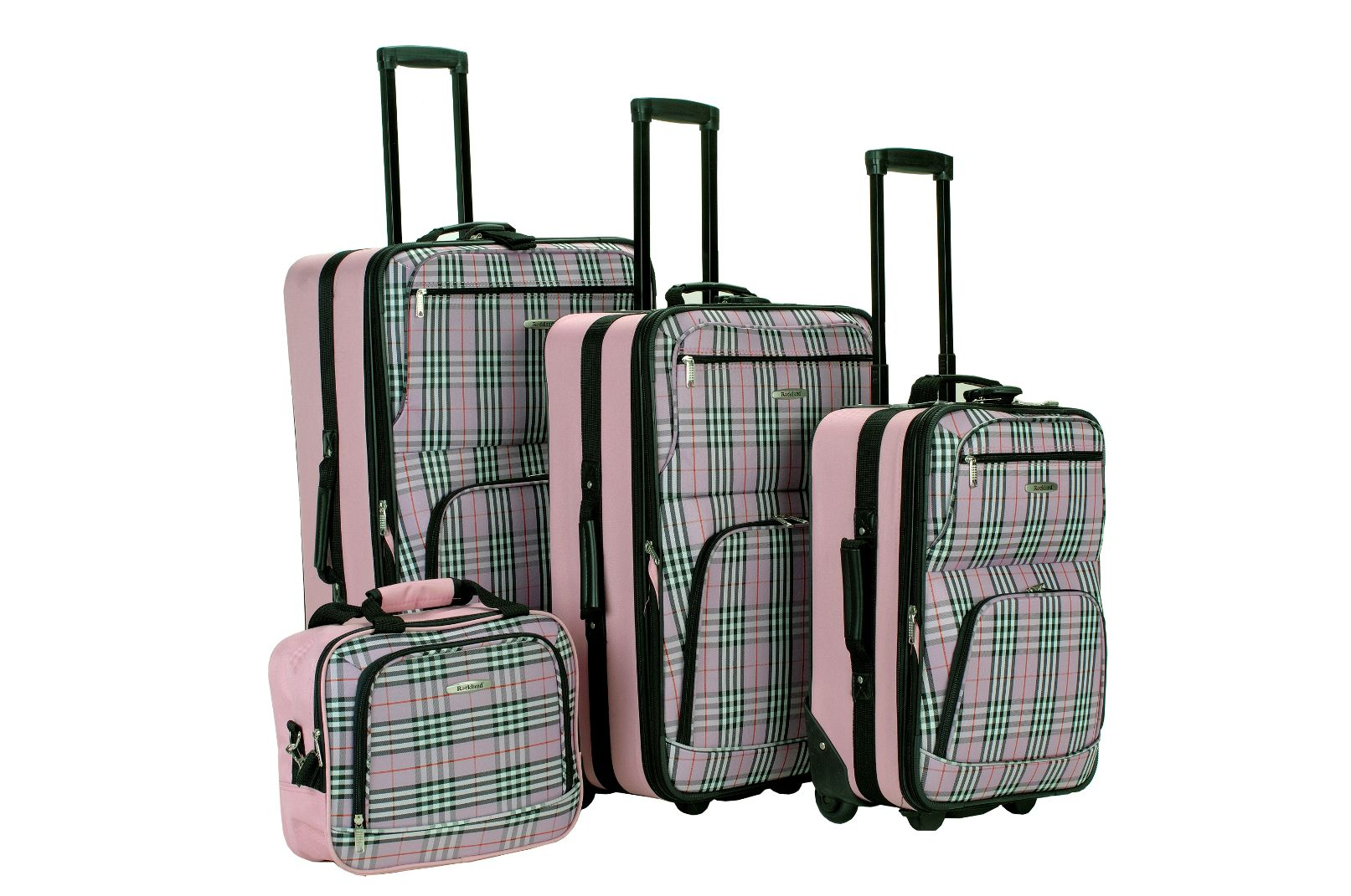 4PC PINK PLAID LUGGAGE SET