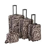 Rockland Fox Luggage Brown Zebra Print 4 Pc Luggage Set at Kmart.com