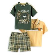 Kids Play Infant Boy's Short Sleeve Lion Polo, Crew Tee and  Plaid Short Set at Kmart.com