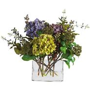 Nearly Natural Mixed Hydrangea w/Rectangle Vase Silk Flower Arrangement at Sears.com