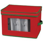 Household Essentials Holiday Stemware Chest/Flute red poly with green trim at Kmart.com