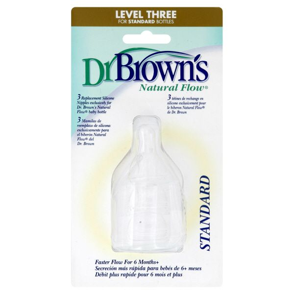 Dr. Brown's Natural Flow Silicone Nipples, Replacement, Level Three, Standard, 3 nipples PartNumber: 04947472000P KsnValue: 04947472000 MfgPartNumber: 330-P3