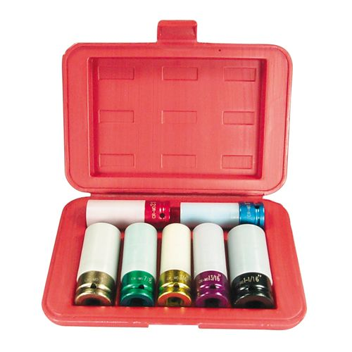 Astro Pneumatic Chrome Protective Plastic Sleeves and Shallow Broach Socket Set