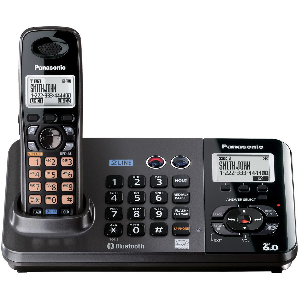 Panasonic DECT 6.0 2-Line Cordless Phone/Answering System - 1 Handset