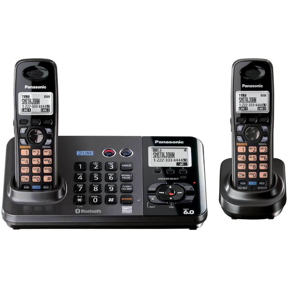 Panasonic DECT 6.0 2-Line Cradles Phone/Answering System - 2 Handiest