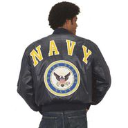 Excelled Men's Navy Insignia Non-Leather Jacket at Kmart.com