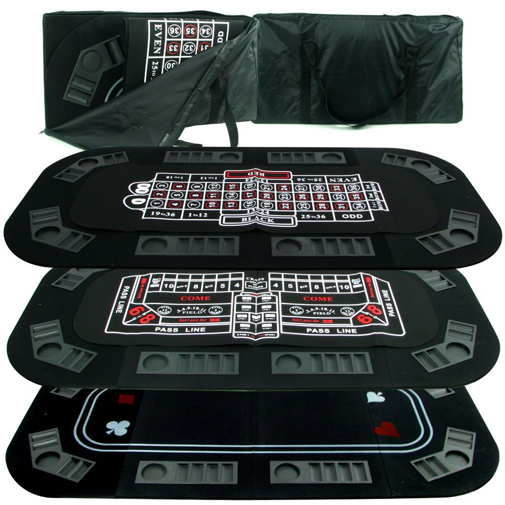 Superior 3 in 1 Poker/Craps/Roulette Tri Fold Table Top                                                                          at mygofer.com