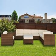 Atlantic Bermuda 8 Piece Brown Synthetic Wicker Patio Seating Set With Off-White Cushions at Kmart.com