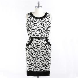 London Style Women's Plus Pocket Front Black & White Printed Sheath Dress at Kmart.com