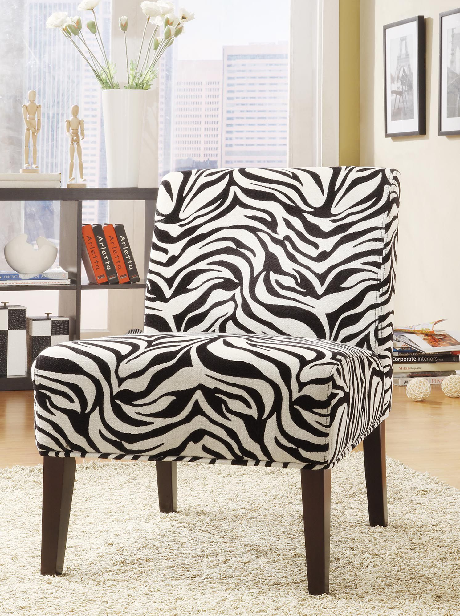 Accent Chair in Zebra Fabric