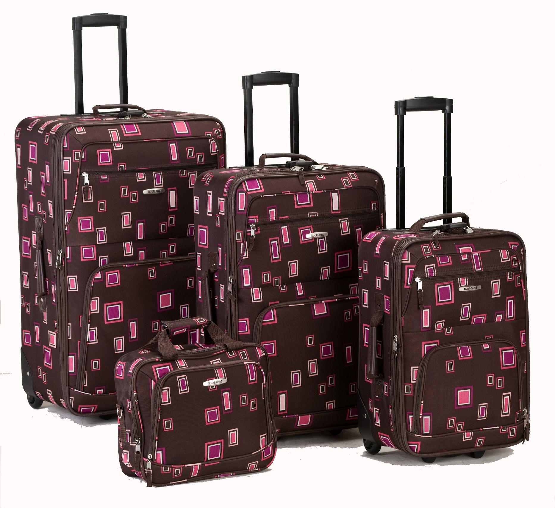 FOX LUGGAGE Rockland Fox Luggage Chocolate 4 Pc Luggage Set