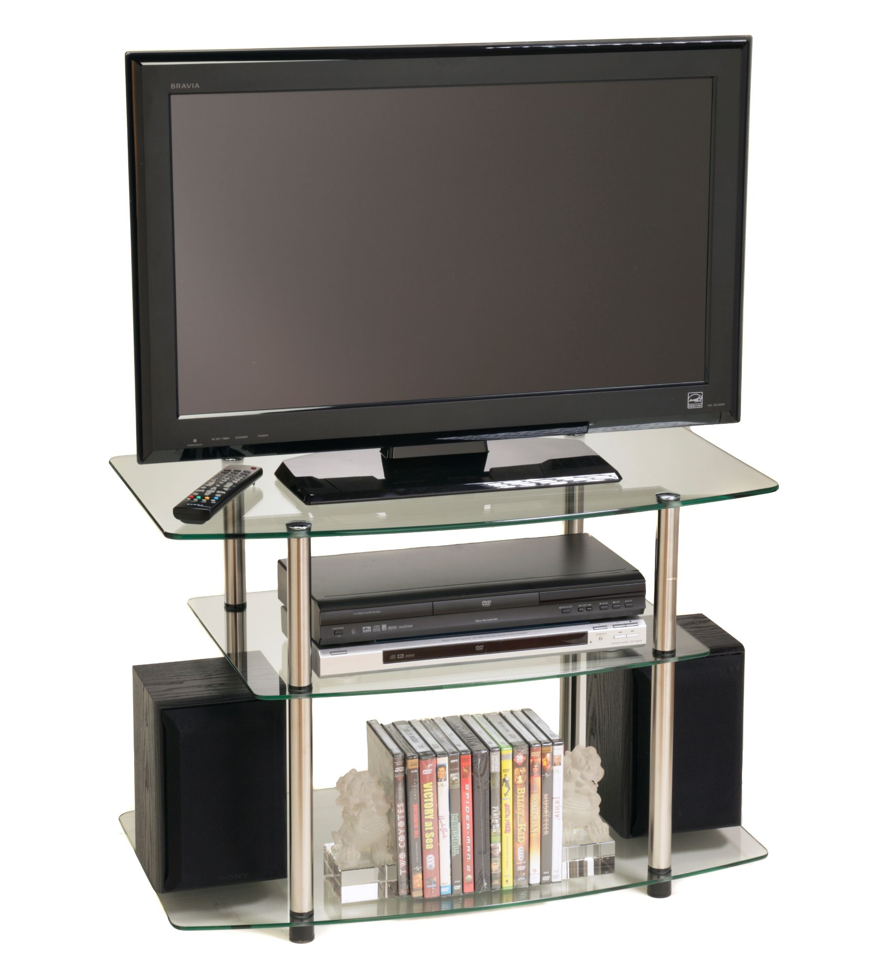 Image of Classic Glass TV Stand by Convenience Concepts, Inc., Clear