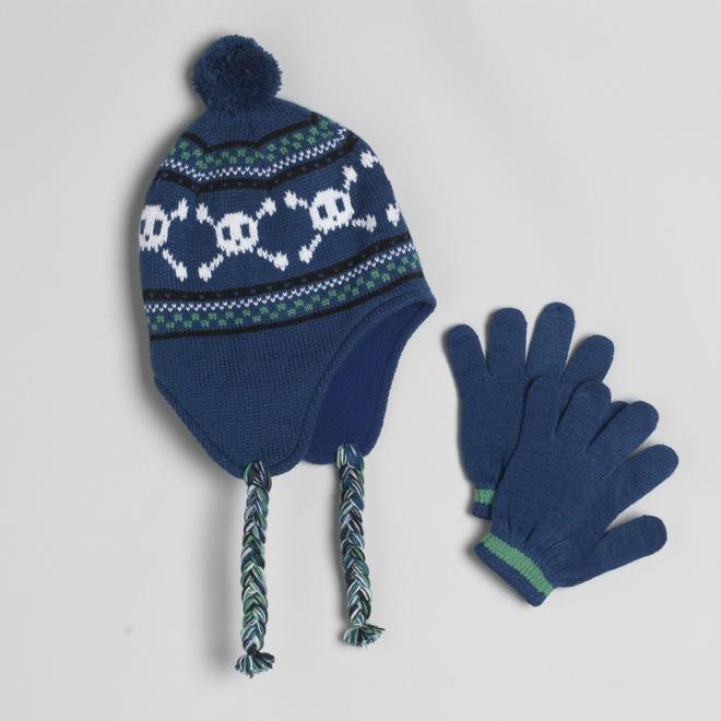 9d5138f9345 WonderKids Boy s 2-Piece Skull Print Hat And Striped Gloves
