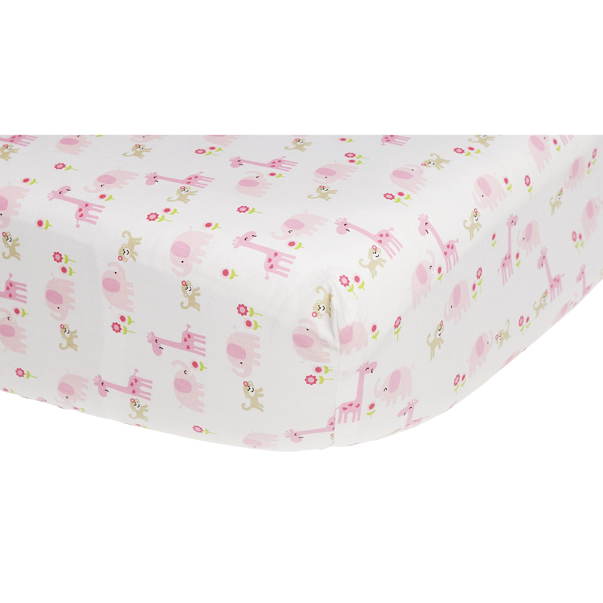 Carter's Easy-Fit Crib Printed Fitted Sheet- Pink, Brown Jungle