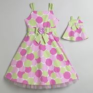 What A Doll Girl's Rose Belted Dotted Dress
