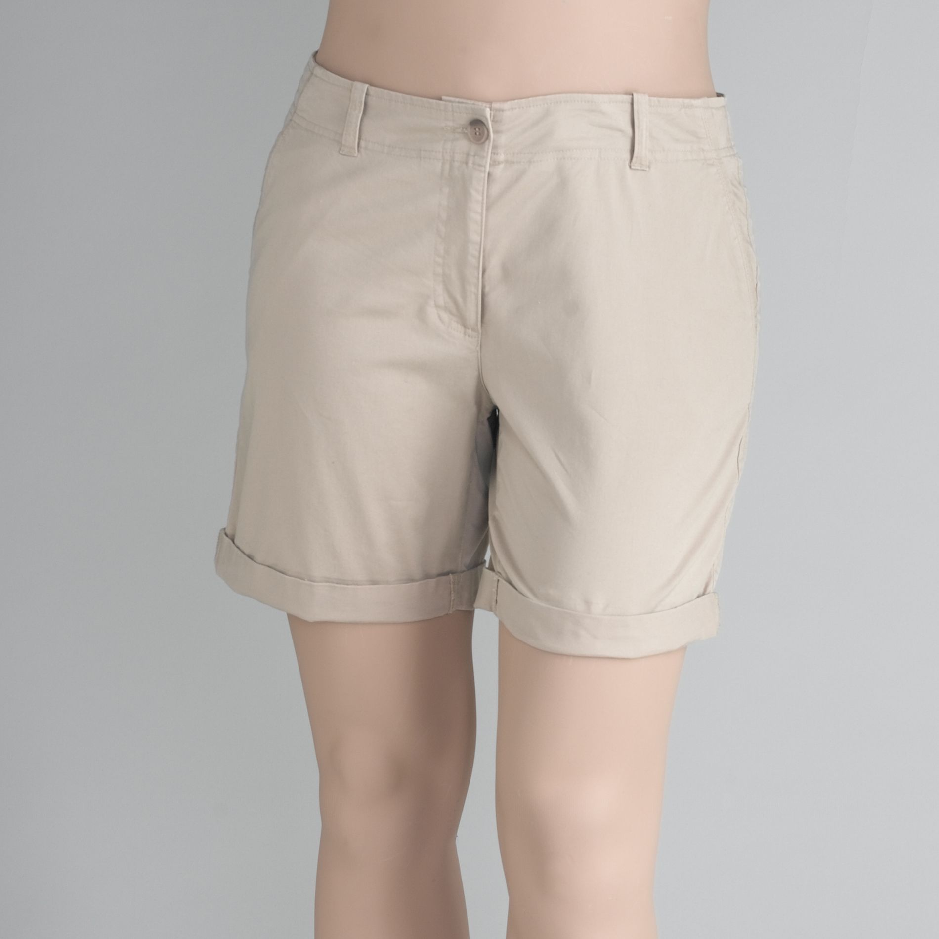 Womens Petite Roll Cuff Shorts