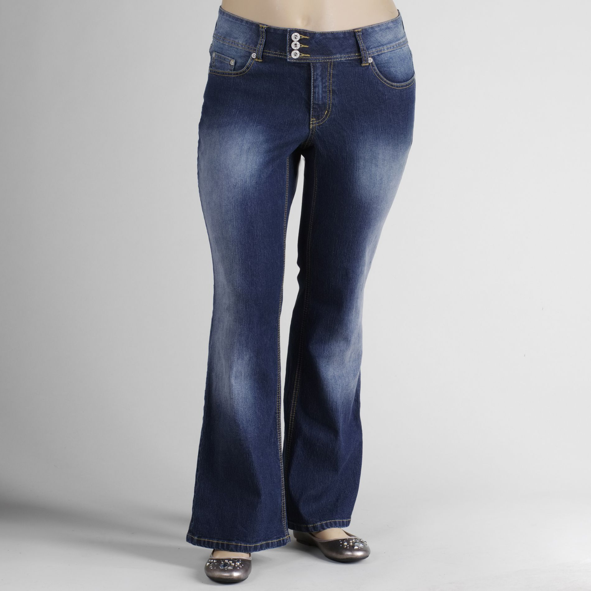 Angels Women's Plus Tab-Waist Flare Jeans at Sears.com
