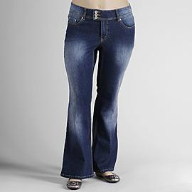 Angels Women's Plus Tab-Waist Flare Jeans at Kmart.com