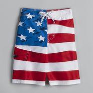 Joe Boxer Boy's American Flag Swim Trunks