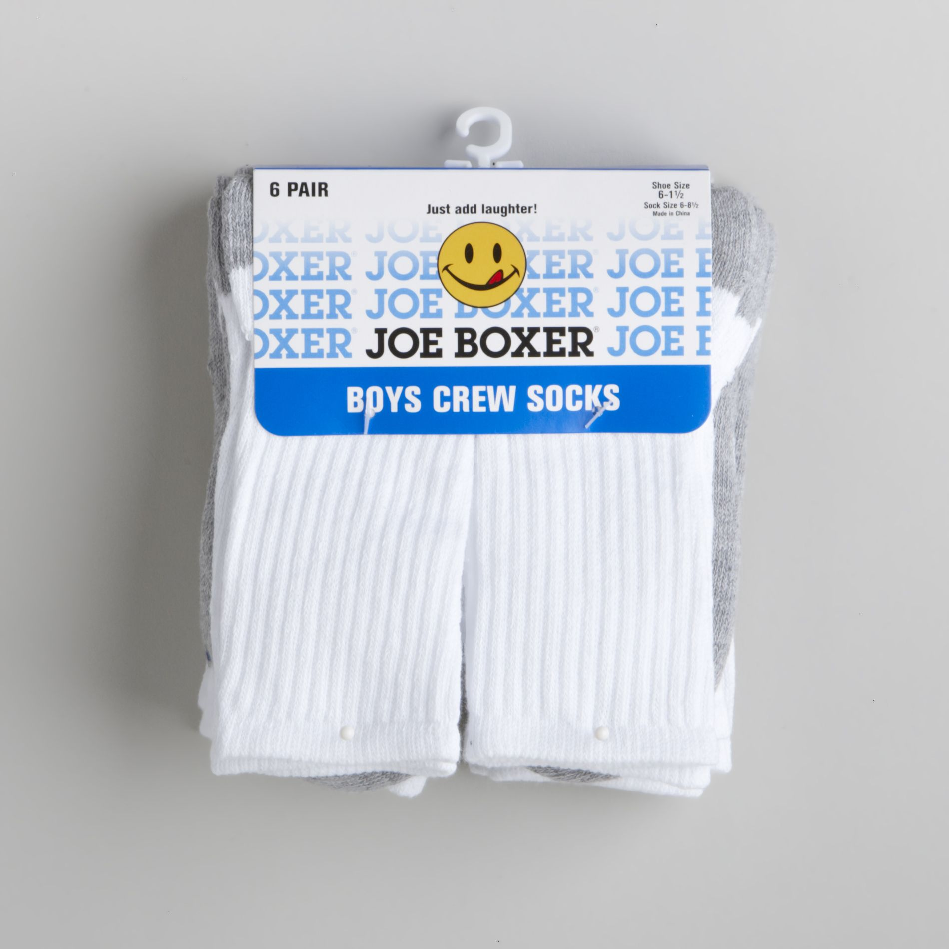 Boy's 6-11 Six-Pair Crew Socks - Gray/White