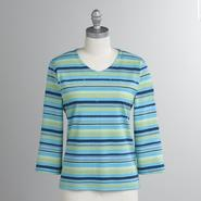 Koret Women's Petite Striped V-Neck Tee at Kmart.com