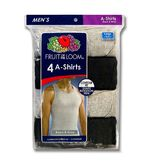 Fruit of the Loom Men's Big & Tall A-Shirts - 4-Pk Black/Gray at mygofer.com