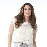 UK Style by French Connection Women's Boxy Dolman Lace Tee at Sears.com