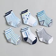 Little Wonders Newborn Boy's 6 Pack Assorted Print Shoe Socks -Size 3-12 Months at Kmart.com