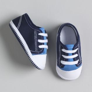 Little Wonders Newborn Boy's Twill Low Oxford Shoe -Size 0-3 Months