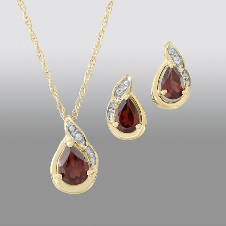 Garnet Pear Pendant and Earring Set