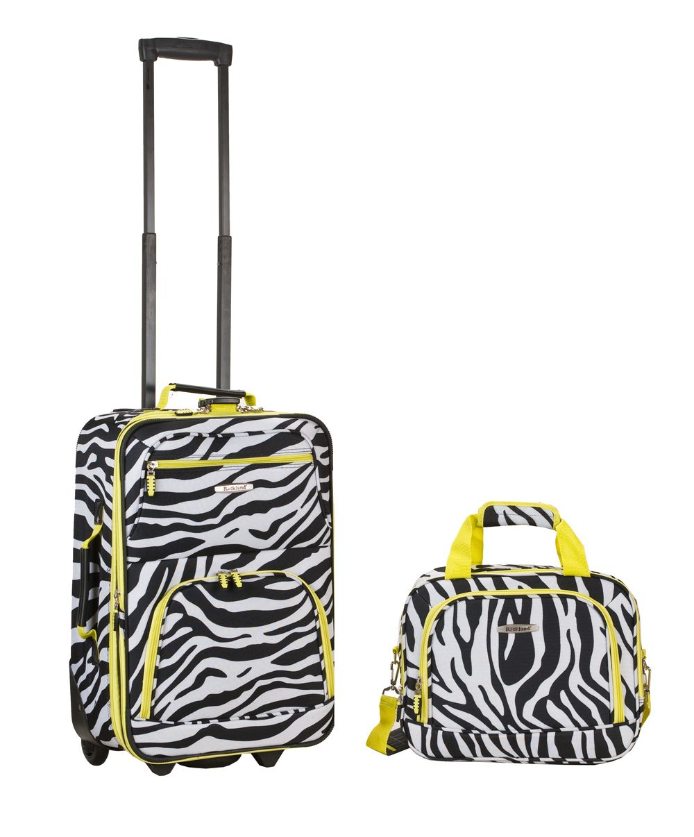 Rockland Fox Luggage  2 PC LIME ZEBRA