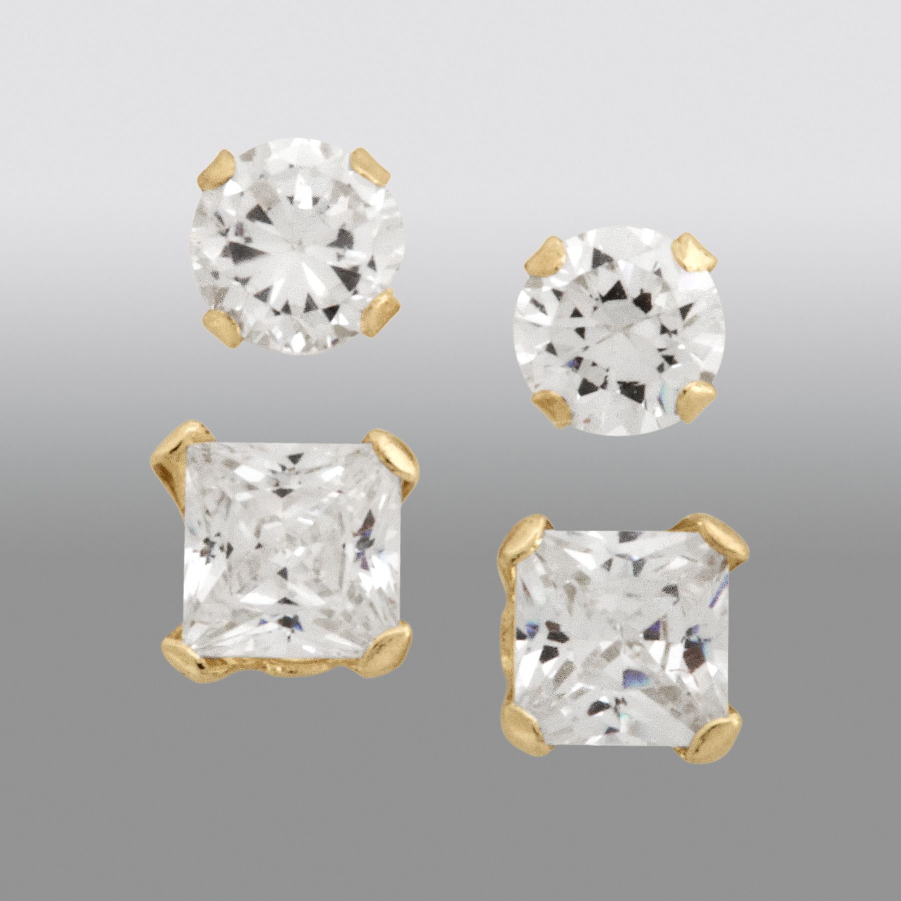 Childs Cubic Zirconia 2-Pair Stud Earring