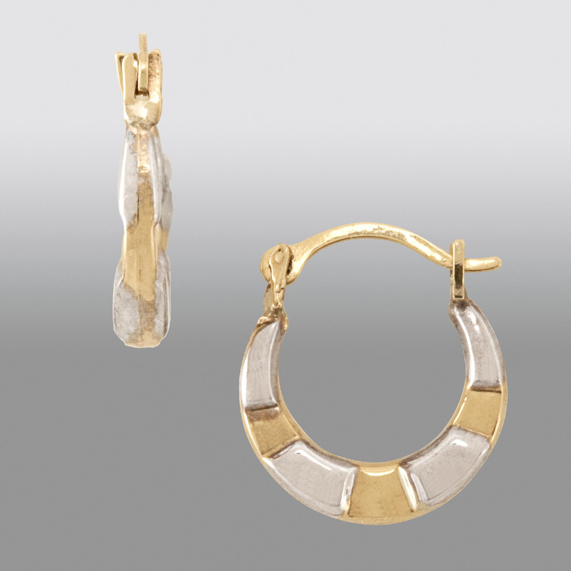 Childs Hoop Earring. 14K White and Yellow Gold