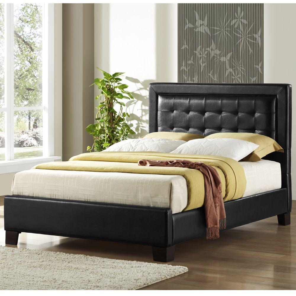 Oxford Creek Black Faux Leather Full Size Platform Bed ...