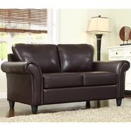 Oxford Creek Loveseat in Dark Brown Faux Leather at Kmart.com