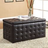 Oxford Creek Storage Bench with 2 Ottomans in Black at mygofer.com