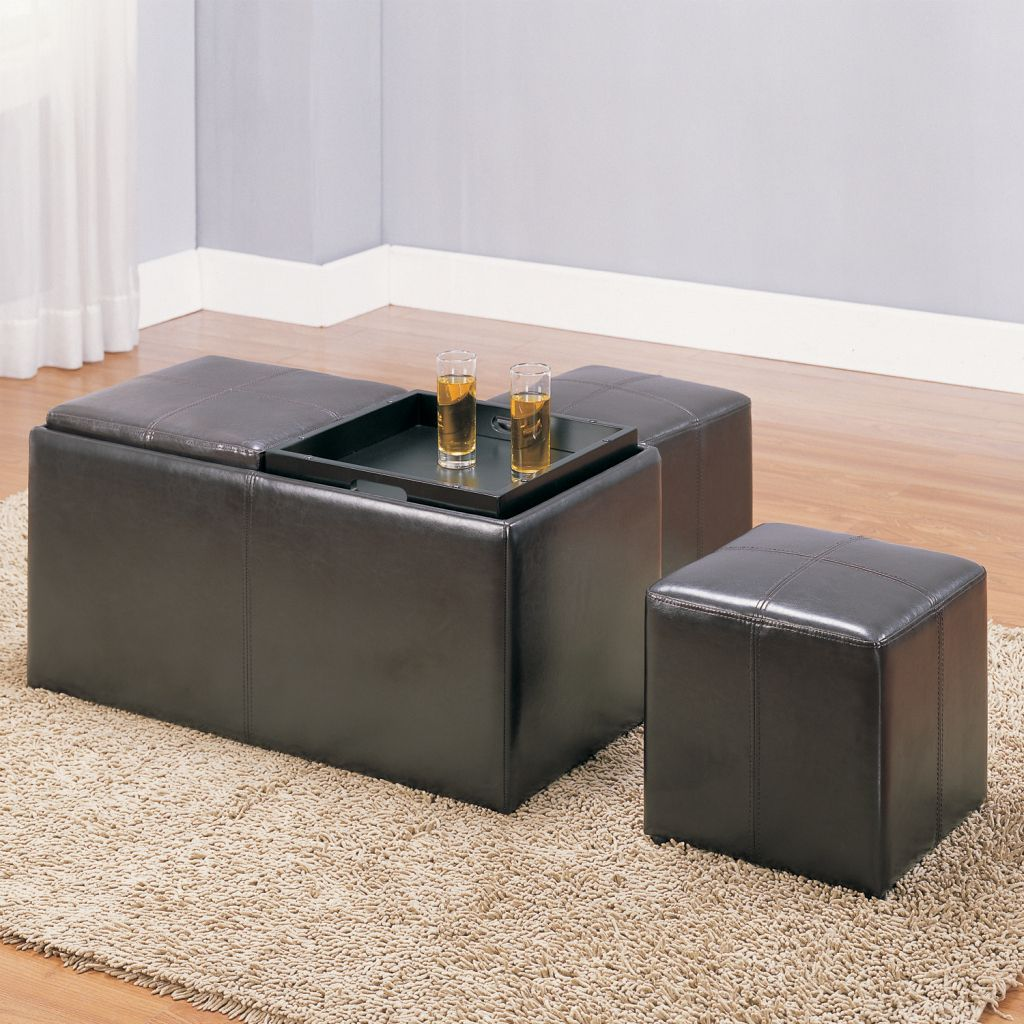 Storage Bench with 2 Ottomans in Dark Brownn