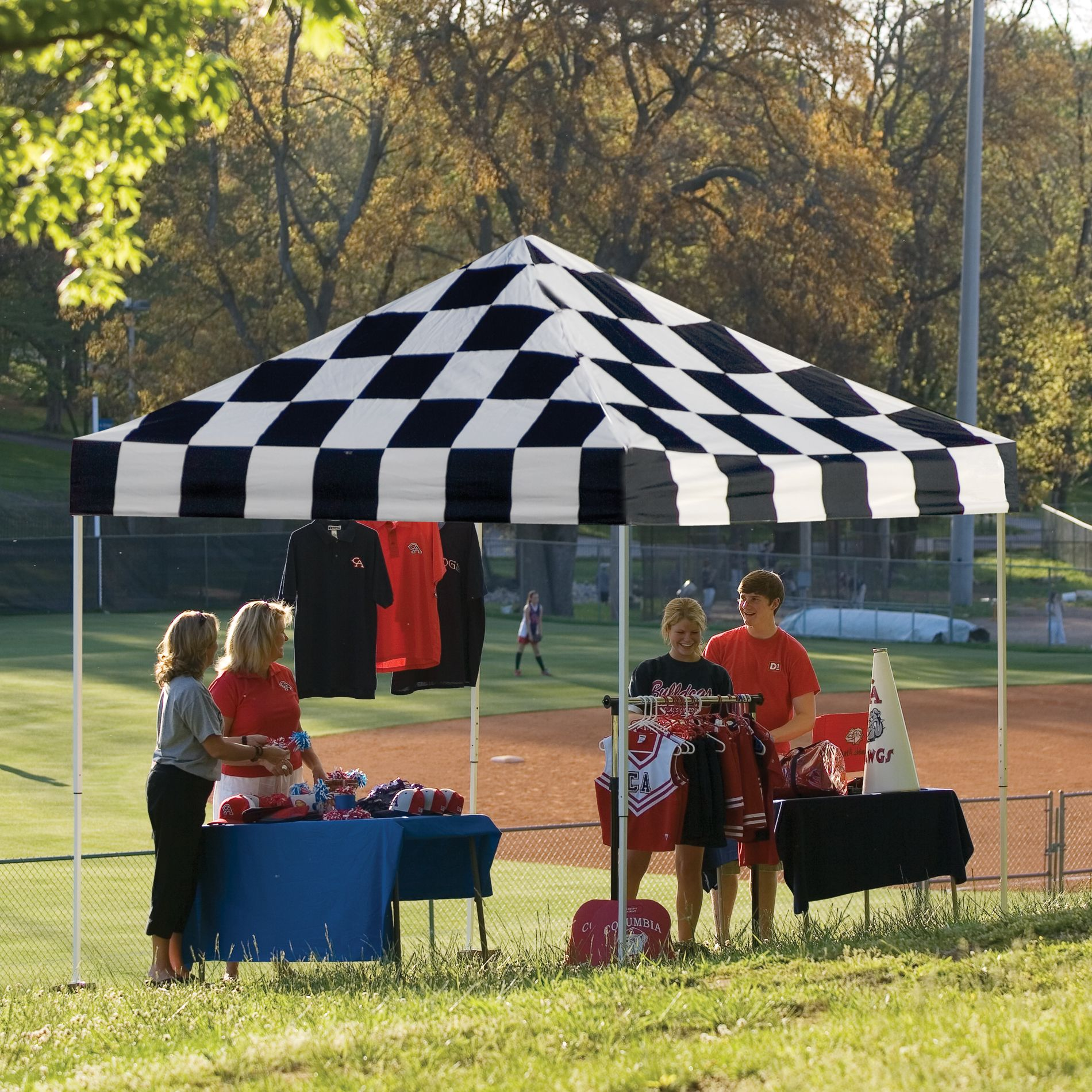10x10 Open Top Pro Pop-up Canopy Checkered Flag Cover                                                                            at mygofer.com