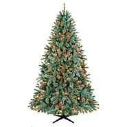 Country Living 7.5ft Lakeshore Blue/ Green Slim Christmas Tree with 450 Multi-Color Lights at Kmart.com