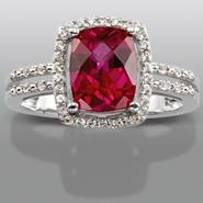 Lab Created Ruby & White Sapphire Sterling Silver Cushion Cut Ring at Sears.com
