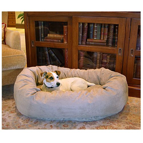 Majestic Pet 32in Bagel Dog Pet Bed Suede Stone