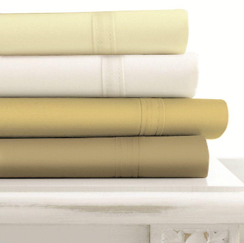 Tribeca Living Egyptian Cotton 500 Thread Count Extra Deep Pocket Sheet Set Ivory