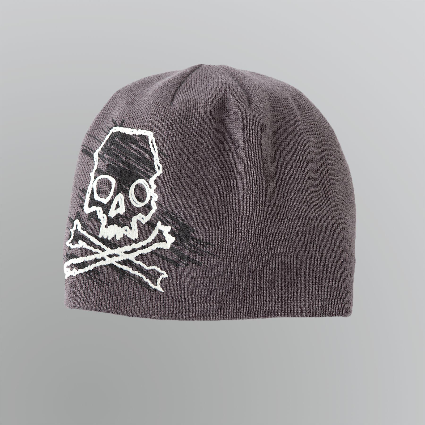 Aquarius Boy s Reversible Skull and Crossbones Winter Cap 773aaef38b78
